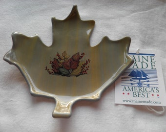 Maple Leaf Fused Glass Plate