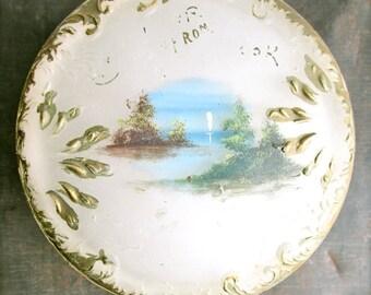 Vintage Glass Jar Hand Painted Vanity Jar Powder Box Jewelry Organizer Bathroom Bedroom   Home And Living Decor