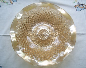 Vintage English Carnival Glass Diamond Pinwheel Bowl