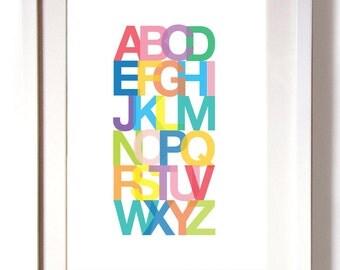 Print Poster Art Alphabet ABC Size A4 or A3 White