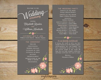 Romantic floral printable wedding program order of for Wedding blessing order of service template