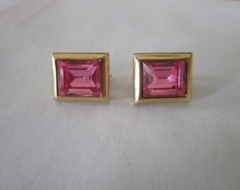 Vintage Signed S.A.L. Pink Swarovski Crystal Earrings Gorgeous