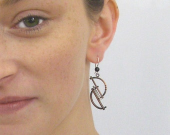 Geometric Modern Silver and Antique Copper Earrings