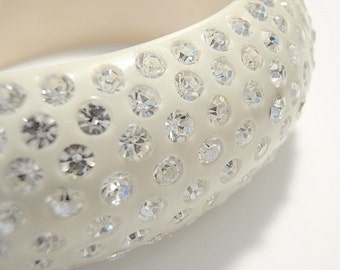 WEISS Hinged Cuff Bracelet Crystal Studded Celluloid Thermoset Plastic Clamper Bridal Bracelet Wedding Jewelry