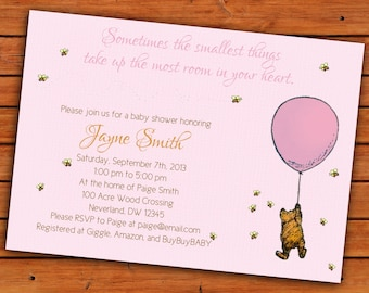 Classic Winnie the Pooh Pink Baby Girl Shower Invitation - 4x6 or 5x7 Digital Printable