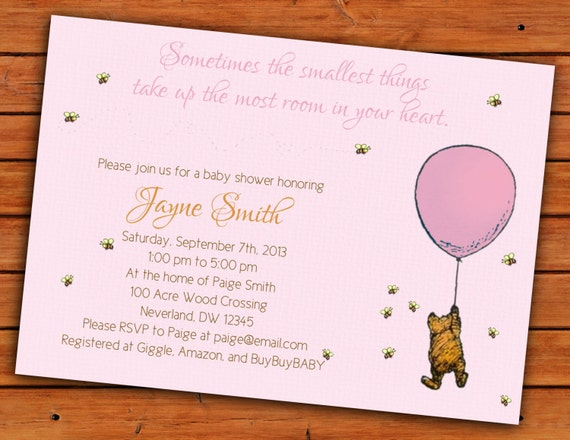 classic winnie the pooh pink baby girl shower invitation 4x6 or 5x7