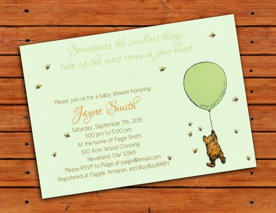 Classic Winnie The Pooh Green Baby Shower Invitation 5x7 Digital. Classic  ...