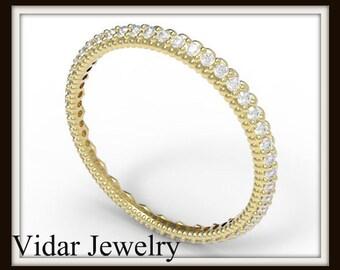 White Diamond Yellow Gold Pave Microband,Unique Filigree Heart Ring Design,Eternity Wedding Band For Womens,Microband Diamond Ring