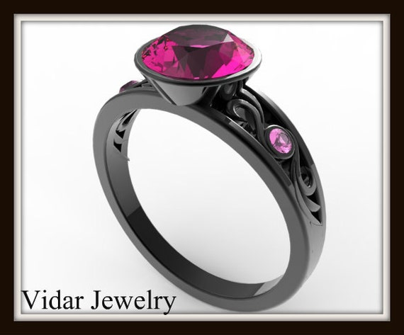 Pink Sapphire Engagement RingBlack Gold Engagement