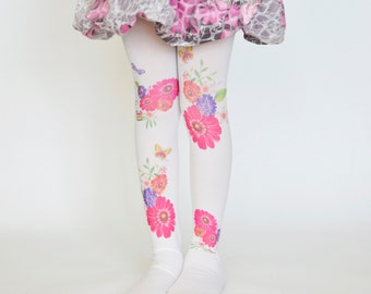 Girls Tights With Flowers , Trend Leggings , Kids Stockings , Hand Printed Tights