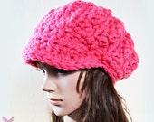 Newsboy Slouchy hat - NEON PINK - womens teen girls - accessories - Wool Woolen - fluro