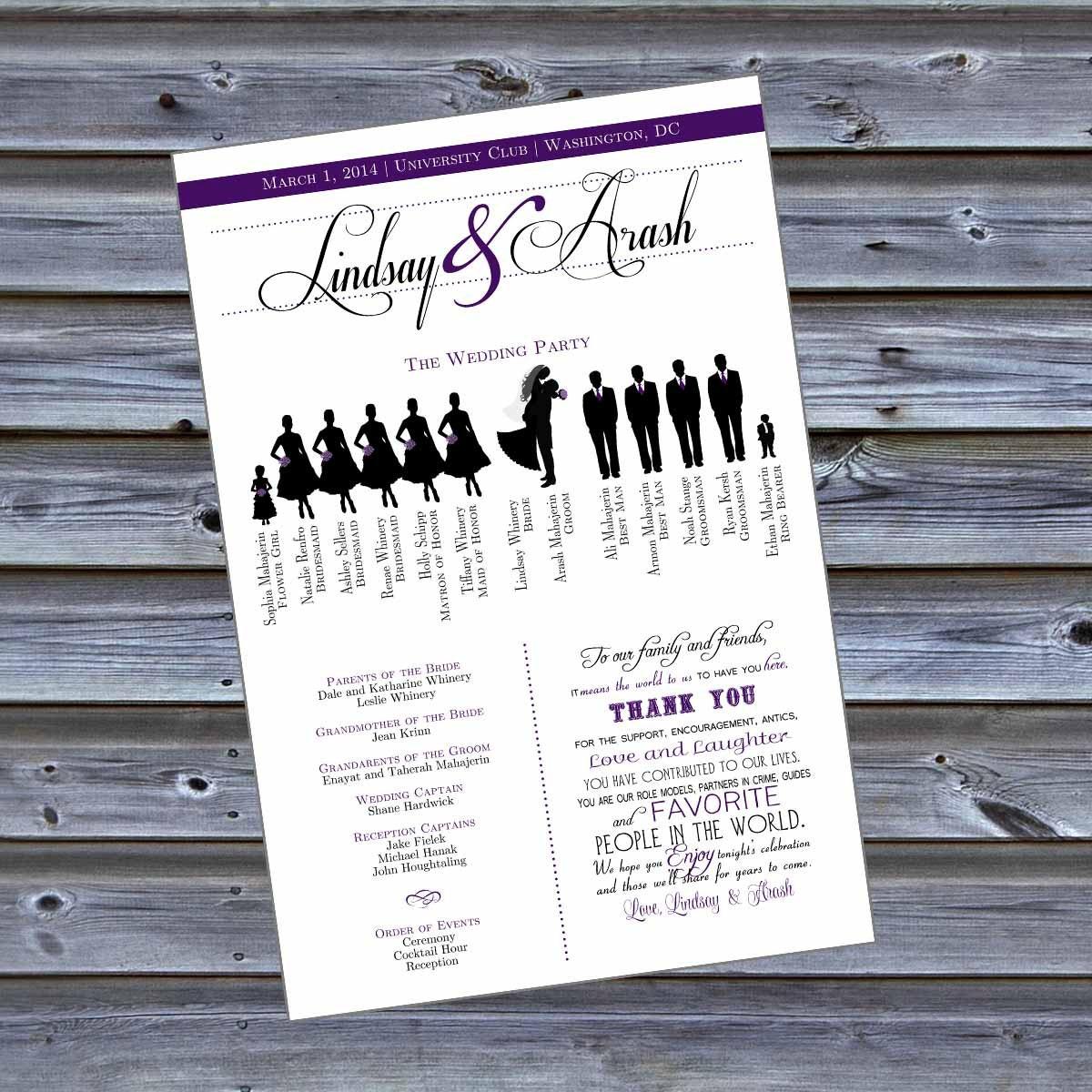 Bridesmaid Silhouette Wedding Program Silhouette style wedding program ...