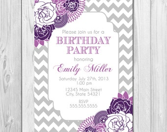 Birthday Party Invitation Chevron Stripes & Floral - Purple and Grey - DIY - Printable