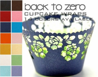 100 Peony Flower Floral Cupcake Wrappers Wraps - 15 Colors Available