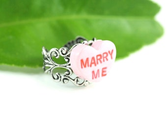 Marry Me Ring Love Heart Nostalgic Candy Conversation Pink Valentine Quirky Kitschy Engagement Wedding Will You Promise Sentimental Proposal