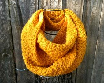 Mustard Yellow Crochet Infinity Scarf/Cowl