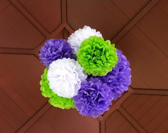 25 Tissue Paper Pom Poms - 10 Large, 5 Medium & 10 Small