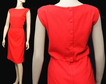Vintage 1960s Dress Designer Rockabilly Garden Party Mad Men Couture Pinup Bombshell Cocktail Femme Fatale Hourglass Red