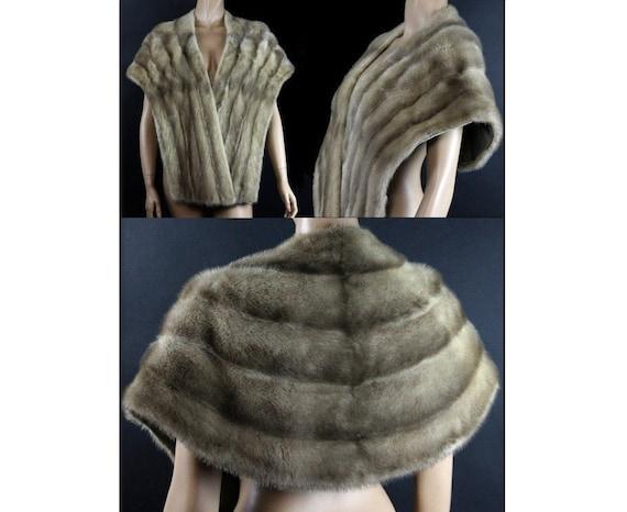 Vintage 1960s Silver Mink Stole Designer Real Fur Mad Man Old Hollywood Garden Party Femme Fatale Coat Jacket Cocktail Party Dress Gown