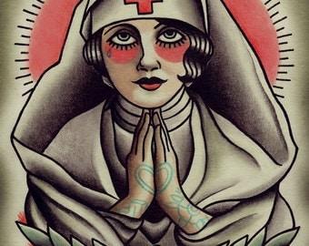 Holy Nurse Traditional Tattoo Flash
