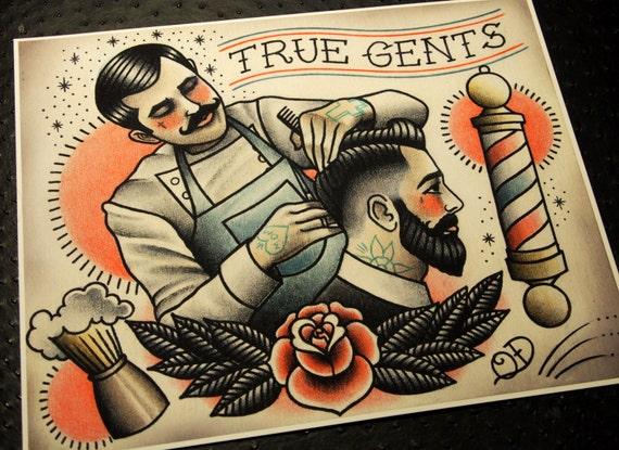 True gents tattoo print for Vintage tattoo art parlor