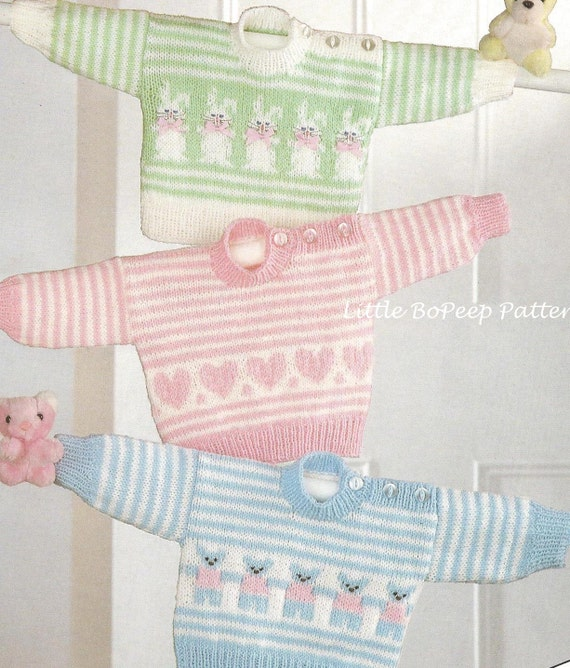 Knitting Patterns Baby Motifs : Baby Jumper knitting pattern with Heart Bear or Rabbit Motifs