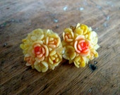 Vintage Celluloid Floral Earrings Marked Japan