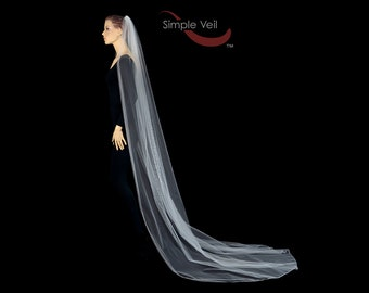 Cathedral Length Bridal Veil, Pencil Edge, Simple Veil
