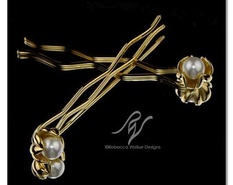 Pearl Pod Bridal Hairpins   14k Gold Finish   Made with SWAROVSKI ELEMENTS (set of 2)
