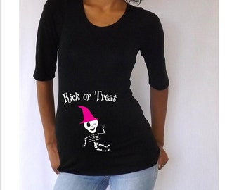 """Maternity Halloween shirt """" Kick or Treat""""  with Cute baby skeleton witch Stylish, FUN  3/4 sleeves Choose your Size S, M,L,XL"""