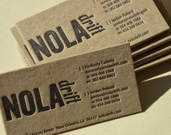 Letterpress Business Cards - Brown STAINED Kraft 2 mm thick cardboard - 1 color front