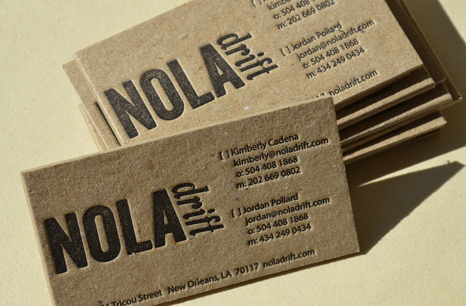 Letterpress Business Cards Brown STAINED Kraft 2 mm thick