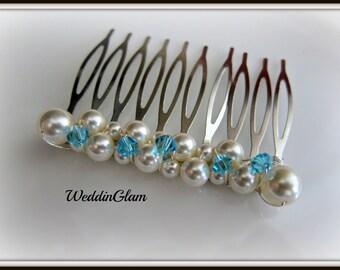 Something blue wedding comb, Ivory blue crystal hair piece, Wedding Hair Accessories, Swarovski Pearls, Elegant Headpiece, Updo silver comb