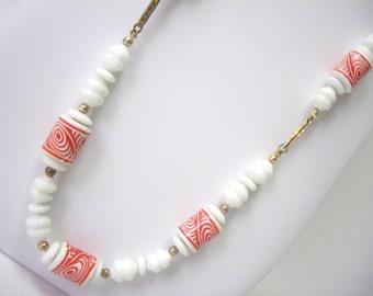 Vintage Orange and White Swirl Mod Necklace