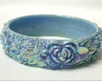 1950's Iridescent Powder Blue Molded Plastic Bangle Bracelet Aurora Borealis Coating