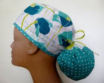 Les Fleurs Women's Surgical Ponytail Scrub Hat Cap from Linda's Lids