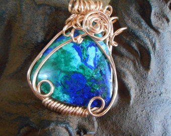 Blue bird mine Chrysocolla and  Azurite wire wrapped in bronze pendant