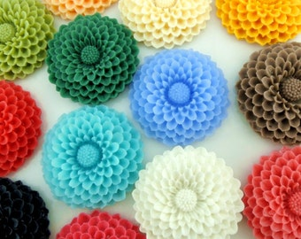 big value pack 24pcs of 12colors of resin chrysanthemum cabochon 35x35x8mm-rc0064-mix color