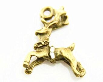 12 pcs of Christmas deer charm pendant 20x20mm-1273 -antique bronze