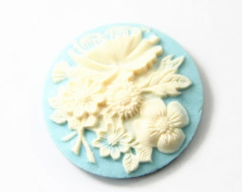 12 Pcs of Resin flower cabochon 35mm-RC0426-blue
