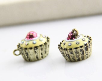 2 pcs of metal jello with rihnestone and hot pink shinny 15x18mm-1643