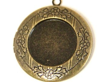 6 pcs of brass locket 32mm for 20mm cameo bl3008-antique bronze