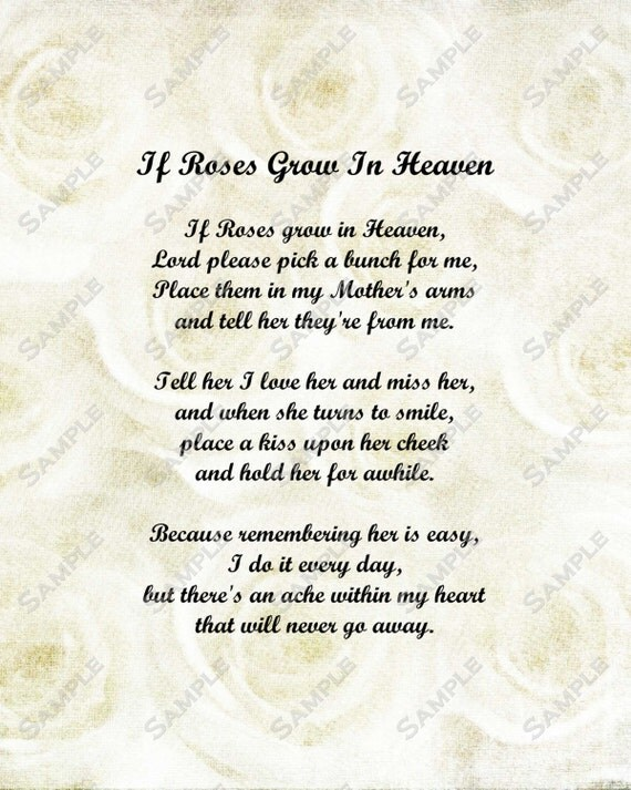 Items Similar To Memorial Poem For Mother Roses In Heaven INSTANT DOWNLOAD Digital