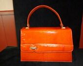 1970's Palizzio Burnt Orange Faux Reptile Purse