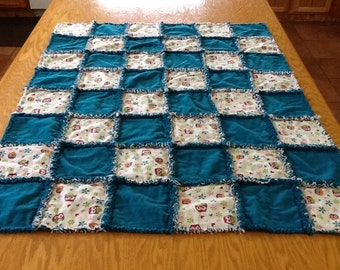 Happy Owls Rag Quilt - Teal