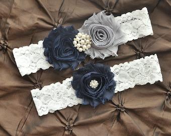Garter Wedding, Garter Bridal - White Lace Garter Set, Keepsake Garter, Toss Garter, Shabby Chiffon Rosette Navy Blue Gray, Something Blue