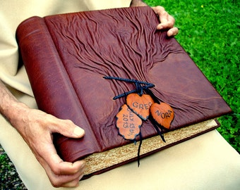 Rustic Leather Wedding Guest Book Tree of Life, Combined Guest Book - Photo Album, Family Chronicle, Brown Rustic Leather, 10''x13""