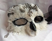 SNOWY OWL MASK Athena Paper Mache Masquerade Ball Ren Fair Mask with Diamonds - DaraGallery