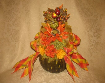 Orange and Green Pumpkin Floral Arrangement, Pumpkin Floral Arrangement, Autumn Floral Arrangement, Fall Floral Arrangement, Floral