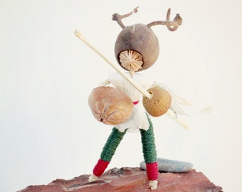 Boys Mobile , warrior with sword and shield, made from natural materials, Made to order,